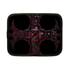 Fractal Red Cross On Black Background Netbook Case (small)