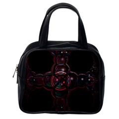 Fractal Red Cross On Black Background Classic Handbags (one Side)