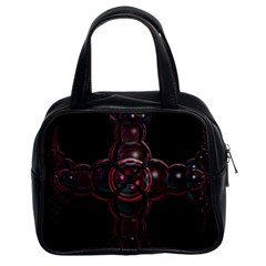 Fractal Red Cross On Black Background Classic Handbags (2 Sides)