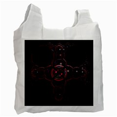 Fractal Red Cross On Black Background Recycle Bag (one Side)