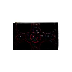 Fractal Red Cross On Black Background Cosmetic Bag (small)