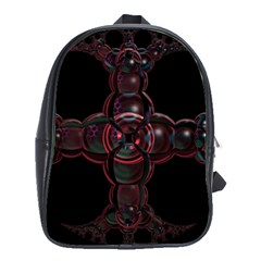 Fractal Red Cross On Black Background School Bags(Large)