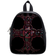 Fractal Red Cross On Black Background School Bags (Small)
