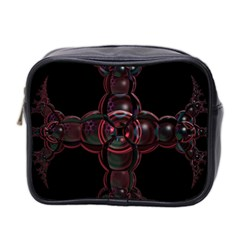 Fractal Red Cross On Black Background Mini Toiletries Bag 2-Side