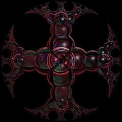 Fractal Red Cross On Black Background Magic Photo Cubes