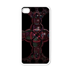 Fractal Red Cross On Black Background Apple Iphone 4 Case (white)