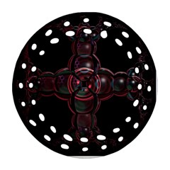 Fractal Red Cross On Black Background Round Filigree Ornament (two Sides)