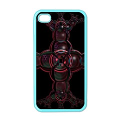 Fractal Red Cross On Black Background Apple Iphone 4 Case (color)