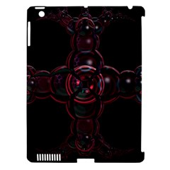 Fractal Red Cross On Black Background Apple iPad 3/4 Hardshell Case (Compatible with Smart Cover)