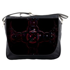 Fractal Red Cross On Black Background Messenger Bags