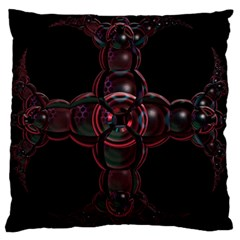 Fractal Red Cross On Black Background Large Cushion Case (one Side)