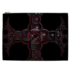 Fractal Red Cross On Black Background Cosmetic Bag (xxl)
