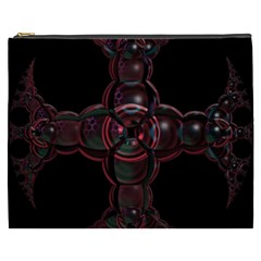 Fractal Red Cross On Black Background Cosmetic Bag (xxxl)