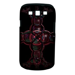 Fractal Red Cross On Black Background Samsung Galaxy S III Classic Hardshell Case (PC+Silicone)