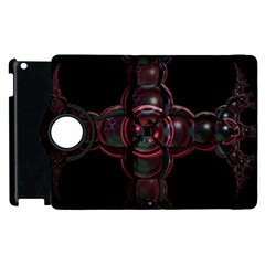 Fractal Red Cross On Black Background Apple Ipad 2 Flip 360 Case