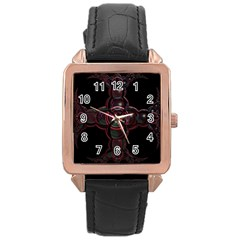 Fractal Red Cross On Black Background Rose Gold Leather Watch
