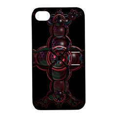Fractal Red Cross On Black Background Apple Iphone 4/4s Hardshell Case With Stand