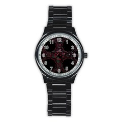 Fractal Red Cross On Black Background Stainless Steel Round Watch