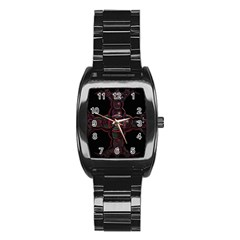 Fractal Red Cross On Black Background Stainless Steel Barrel Watch