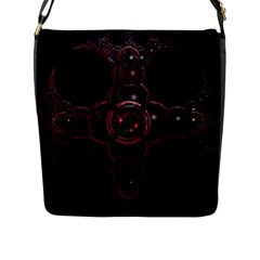 Fractal Red Cross On Black Background Flap Messenger Bag (l)