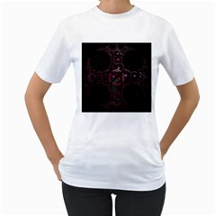 Fractal Red Cross On Black Background Women s T Shirt (white)