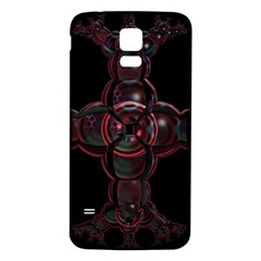 Fractal Red Cross On Black Background Samsung Galaxy S5 Back Case (white)