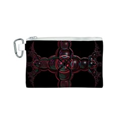 Fractal Red Cross On Black Background Canvas Cosmetic Bag (S)