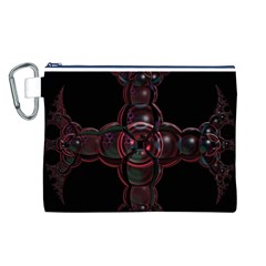 Fractal Red Cross On Black Background Canvas Cosmetic Bag (l)
