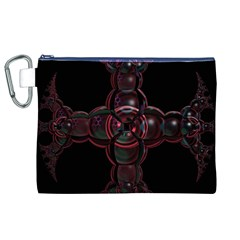 Fractal Red Cross On Black Background Canvas Cosmetic Bag (xl)