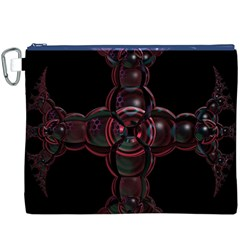 Fractal Red Cross On Black Background Canvas Cosmetic Bag (xxxl)