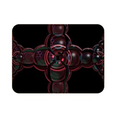 Fractal Red Cross On Black Background Double Sided Flano Blanket (mini)