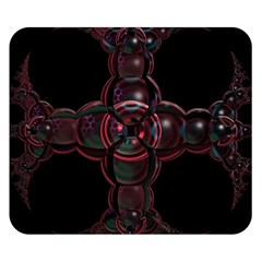Fractal Red Cross On Black Background Double Sided Flano Blanket (small)