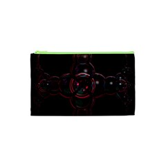 Fractal Red Cross On Black Background Cosmetic Bag (xs)