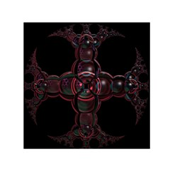 Fractal Red Cross On Black Background Small Satin Scarf (square)
