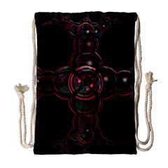 Fractal Red Cross On Black Background Drawstring Bag (Large)