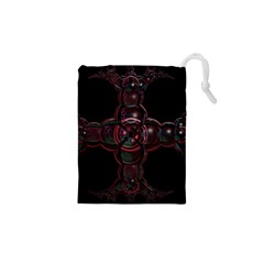 Fractal Red Cross On Black Background Drawstring Pouches (XS)