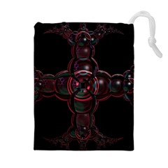 Fractal Red Cross On Black Background Drawstring Pouches (extra Large)