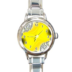 Fractal Abstract Background Round Italian Charm Watch