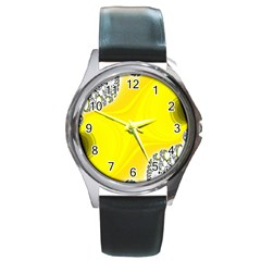 Fractal Abstract Background Round Metal Watch
