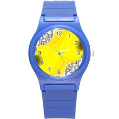 Fractal Abstract Background Round Plastic Sport Watch (s)