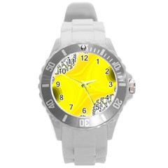 Fractal Abstract Background Round Plastic Sport Watch (l)