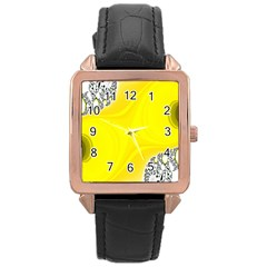 Fractal Abstract Background Rose Gold Leather Watch