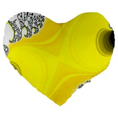 Fractal Abstract Background Large 19  Premium Flano Heart Shape Cushions