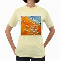 Bubbles Background Women s Yellow T-Shirt