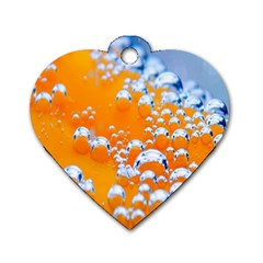 Bubbles Background Dog Tag Heart (One Side)