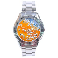 Bubbles Background Stainless Steel Analogue Watch