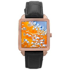 Bubbles Background Rose Gold Leather Watch