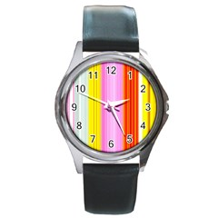 Multi Colored Bright Stripes Striped Background Wallpaper Round Metal Watch