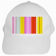 Multi Colored Bright Stripes Striped Background Wallpaper White Cap