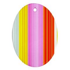 Multi Colored Bright Stripes Striped Background Wallpaper Ornament (oval)